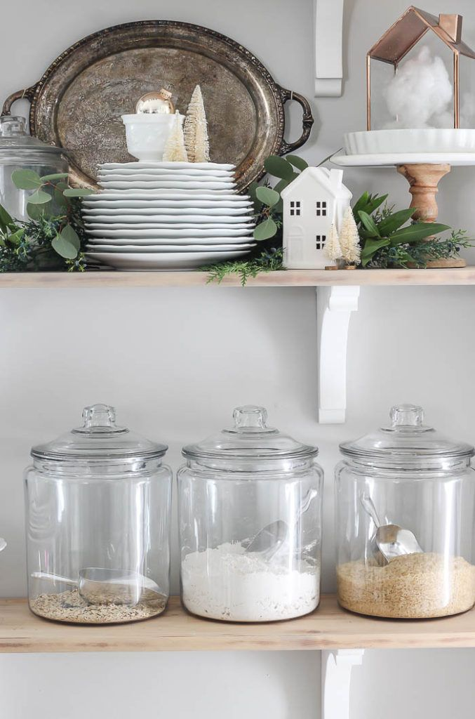 Christmas in the Kitchen | 2018 Christmas Decor | Gorgeous farmhouse kitchen shelves with white dishes, greenery, neutral Christmas deco accents, and …