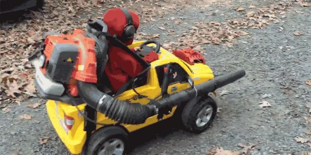 Strapping a Leaf Blower To Your Kids Power Wheels Is Yard Work Done Right