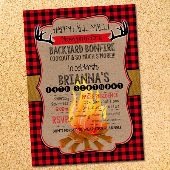 Happy Fall Y All Bonfire Invitation In 2018 Birthday Party