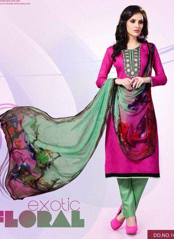 Mayur 1603 - Pink Color Cotton Designer Suit