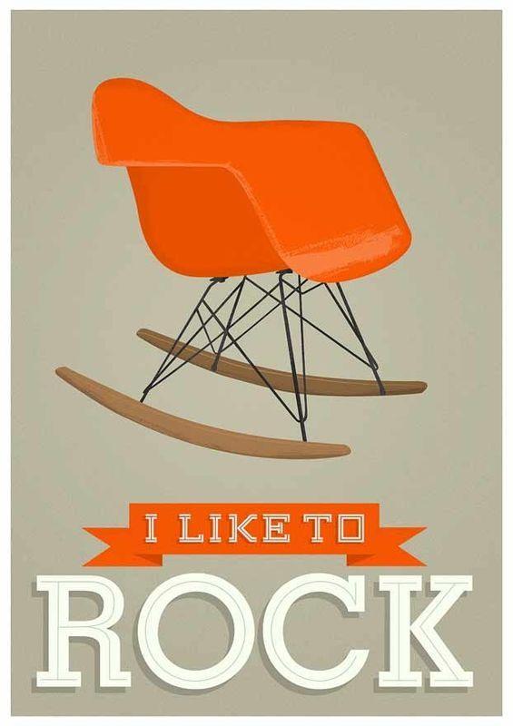 I Like to Rock poster #midcentury #humor #furniture #design