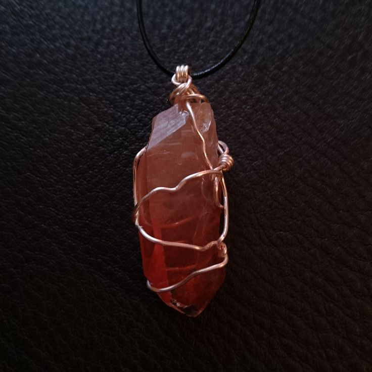 Double Terminated Tangerine Quartz (2/2)  #openmind #crystal #wirewrap #ascensionenchanted #handmade #necklace #pendant