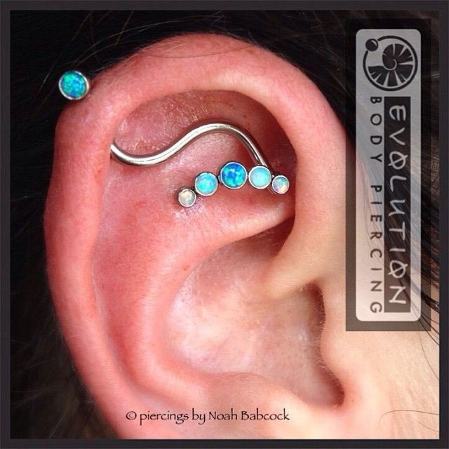 Faux Industrial Piercing. Fresh helix to flat. Floating illusion industrial. #anatometal