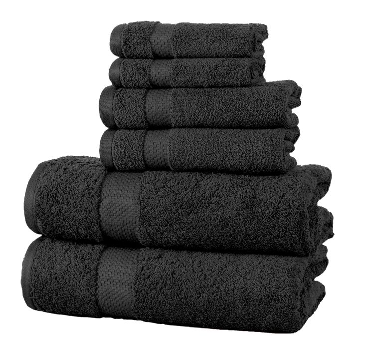 Midnight Black Towel Set, Luxury Cotton with Dobby Border