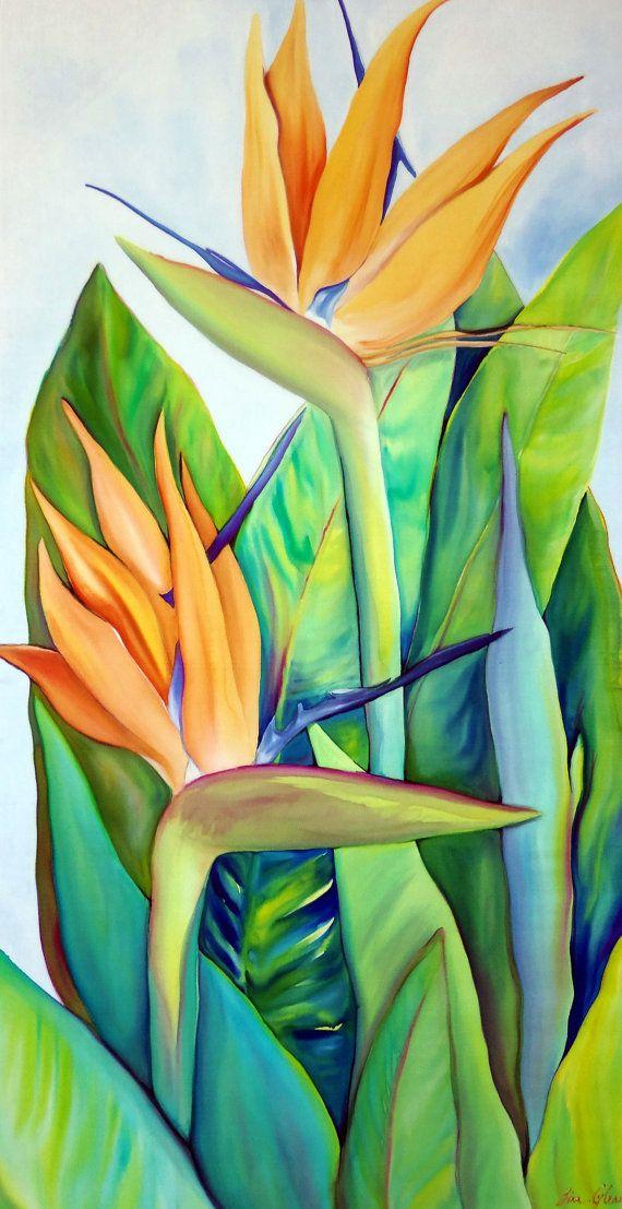 Bird Of Paradise Wall Art Painting Original by tinassilkart, $425.00