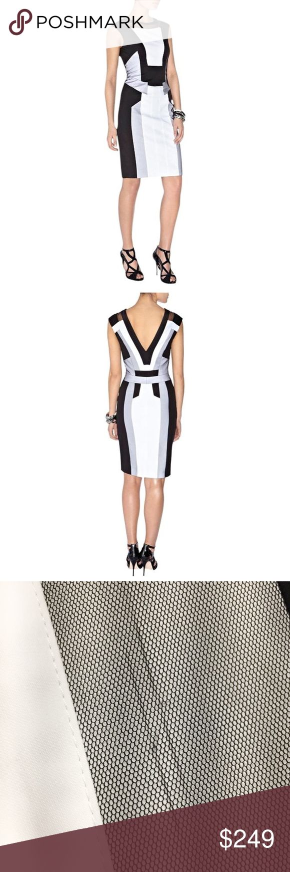 "karen millen • black white graphic sheath dress Gorgeous black & white graphic panel dress from Karen Millen. Features scoop neck front and v neck back, black mesh inset at collar and mesh panel overlays. Thick cotton poplin fabric, fully lined.   • size US 6 / UK 10 --- runs small, best for a size 4 or even a 2, please check measurements! • 33"" bust 