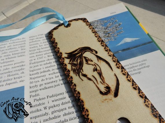Horse head wooden bookmark