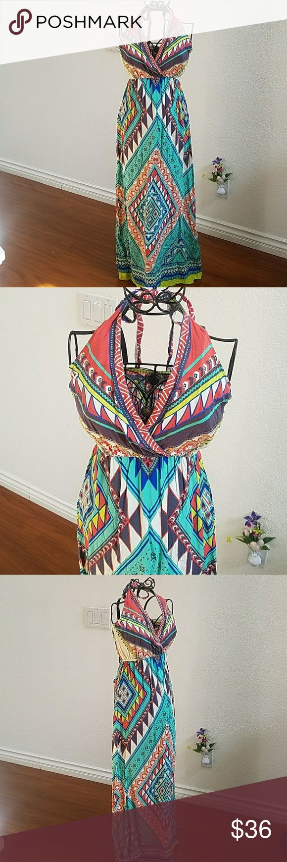 Flying Tomato halter boho tribal maxi dress New. Washed and ready to be worn. Beautiful, bright colors that would pair well with a black cardigan. Feel free to ask any questions prior to purchase. Flying Tomato Dresses Maxi