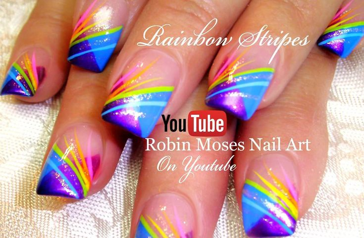 """440 Likes, 12 Comments - robin  moses (@robinmosesnailart) on Instagram: """"New video in bio! Found in ▶the cute playlist #stripednails !! Brushes worldwide at…"""""""
