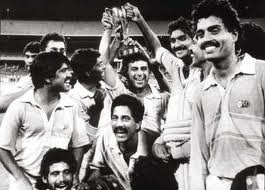 10th March 1985, India beats Pakistan by 8 wickets in the Benson & Hedges World Championship of Cricket final at MCG, Australia. India dominates the tournament and remain unbeaten.