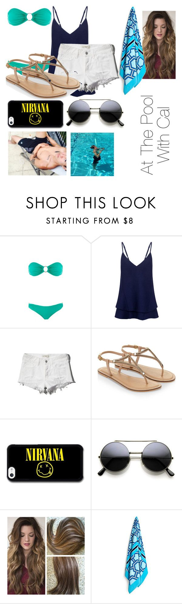 """""""At the pool w/ Calum"""" by lovescalumhood ❤ liked on Polyvore featuring Melissa Odabash, C/MEO COLLECTIVE, Abercrombie & Fitch, Accessorize, Jonathan Adler, women's clothing, women's fashion, women, female and woman"""
