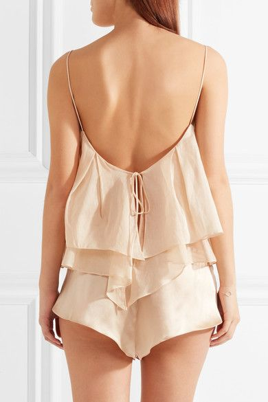 Three Graces London - Francis Ariel Cotton-voile And Silk Pajama Set - Cream - UK10