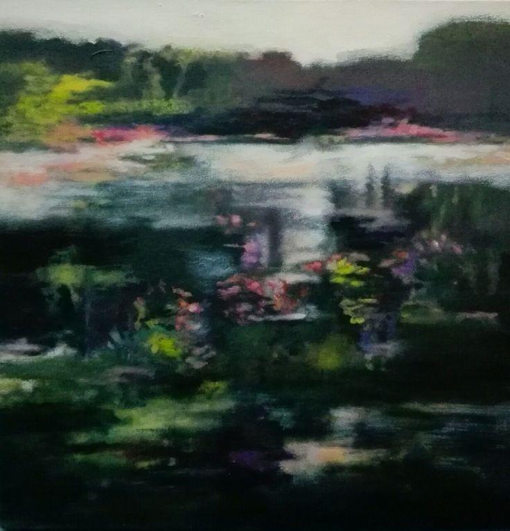 Hermosa obra de arte realizada en Acrilico sobre lienzo que refleja tranquilidad. Nombre: Lago y luz rosa 50x50cm