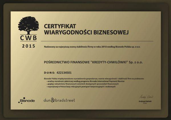 """Za 2015, 2014 i 2013 Spółka """"KREDYTY-Chwilówki"""" otrzymała złoty Certyfikat Wiarygodności Biznesowej. To potwierdzenie dobrej kondycji finansowej firmy, płynności finansowej oraz jej wiarygodności."""
