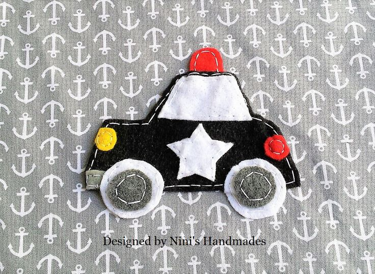 Kids Police car Inspired Iron On Felt Applique