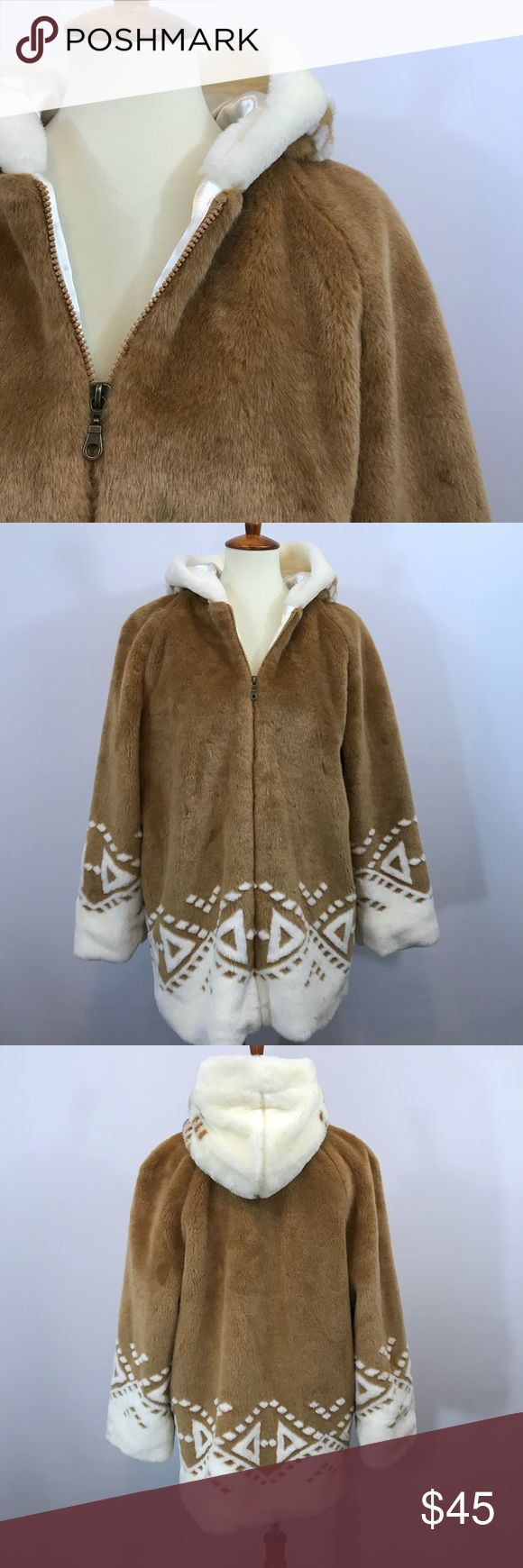 """Thunder Valley Casino Coat Hooded faux fur coat with hood. Fully lined. Embroidered with, Thunder Valley Casino and Resort"""" on the upper back. Excellent preowned condition.   Sleeve is 22"""" PTP is 24"""" Length is 30"""" Lake Matley Jackets & Coats"""