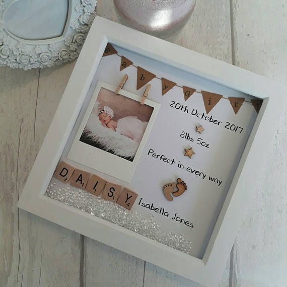 This handmade, personalised scrabble art frame makes the perfect gift for a new baby. Its a beautiful keepsake to celebrate a birth, christening or childs birthday. A truly personalised item with space for childs full name, date of birth and birth weight. ( please ask if theres