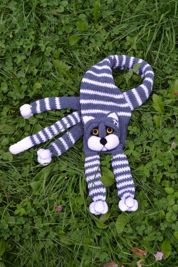 Knitted Cat scarfAnimal scarfSCARF for kids and adultsGrey