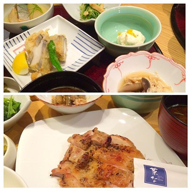 妻の友人が上京。東京駅近くのKITTEの中のレストラン街にて。私はお肉炙り焼き御膳(1280円)。妻は京野菜と湯葉のお膳(1580円)。京野菜のおばんざいのうち、クリーミーなもっちり豆腐が美味しかった。 - 152件のもぐもぐ - 丸の内KITTEレストラン街にて休日ランチ by juneshun