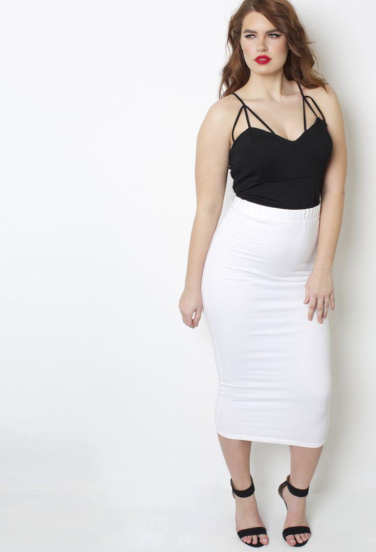 Rebdolls Essential White Body-Conscious Midi Skirt - Shop Women's ...