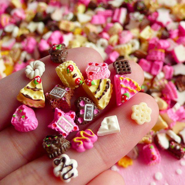 Tiny Miniature Sweets Cabochon Mix for NAIL ART Assorted Miniature Sweets Set Nail Decoration Earrings Making (6 pcs by random) NAC030