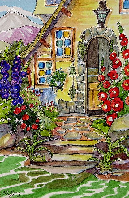 A Gardener's Cottage by cottagelover1953 (wonderful vintage-inspired cottage illustrations)