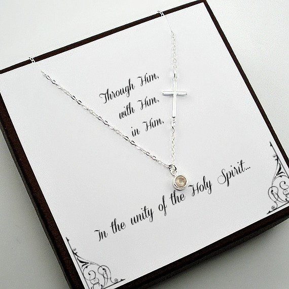 Confirmation, First Communion Gift - Side Cross Necklace, Sterling Silver