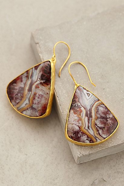 Paisley Fossil Earrings - anthropologie.com Crazy lace agate.... $338