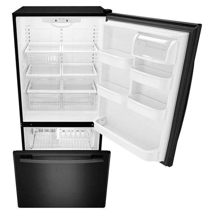 Amana 22cu ft bottom freezer refrigerator in black