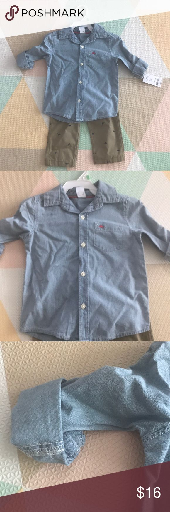 NWT Carter's boy set NWT. Size 18 months. Khaki slacks with dinosaurs and jean button down Carter's Matching Sets