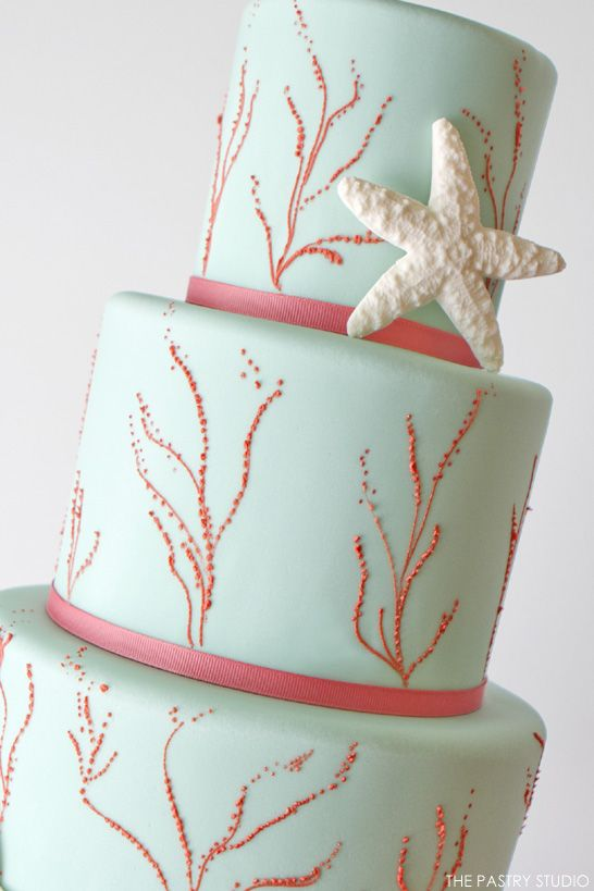 turquoise and coral bridesmaid dresses | Aqua & Coral Beach Cake by The Pastry Studio | TheCakeBlog.com Perfect cake!