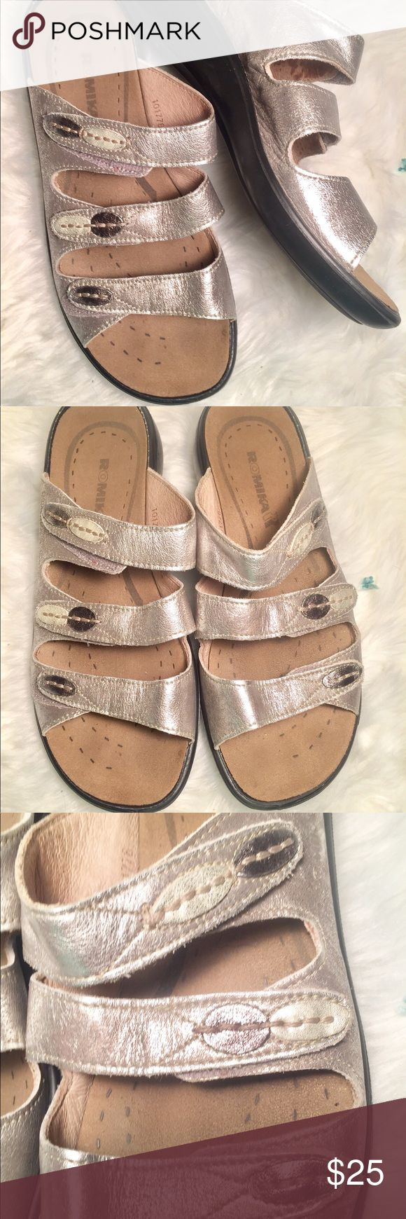 9 )39) ROMIKA Silver Leather Sandals In EUC! Very comfortable! All three straps are adjustable Velcro. Romika Shoes Sandals