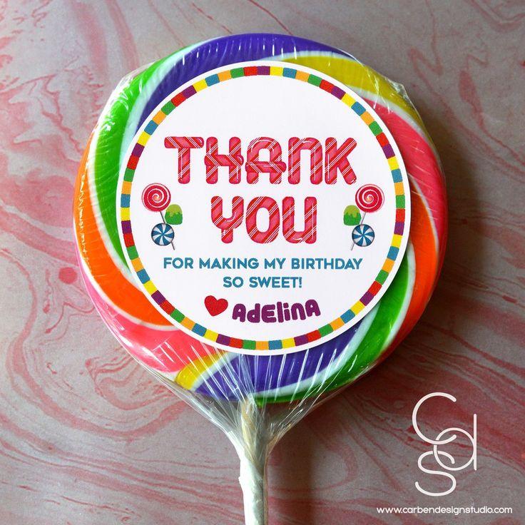 CANDYLAND BIRTHDAY SUITE: THANK YOU STICKER