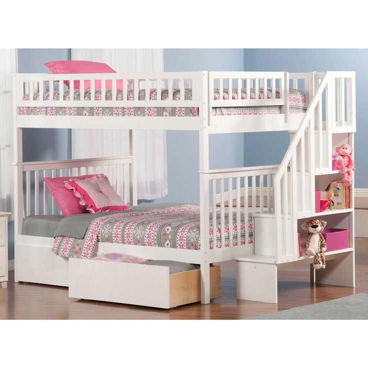 Atlantic Furniture Woodland White Full Over Full Staircase Bunk Bed With  Bed Drawers (