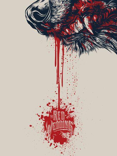 Red Wedding Game Of Throne Art Print Art Print. Tags: wolf, blood, TV, Series, Stark, Winter Is Coming, Rob Stark, teeth, poster, Brian Yap, fur, print