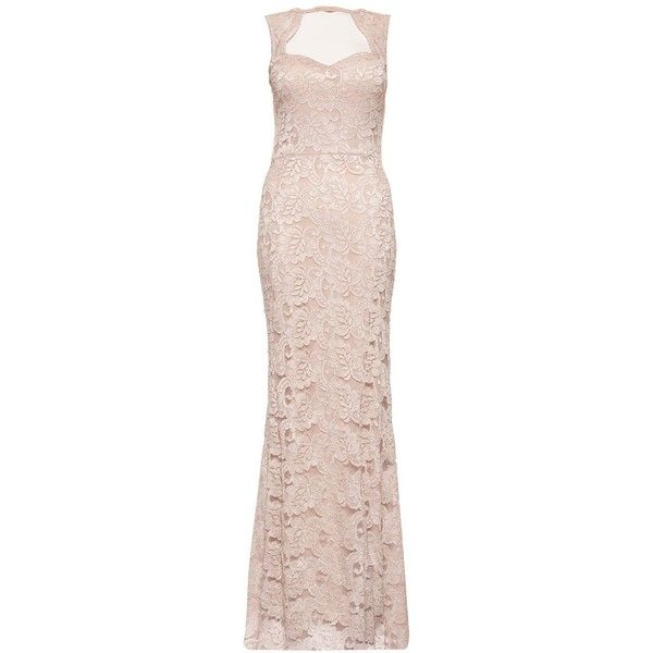 Quiz Champagne Lace Fishtail Maxi ($66) ❤ liked on Polyvore featuring dresses, sale women dresses, scalloped dress, champagne dresses, off white dress, fishtail dress and champagne lace dress