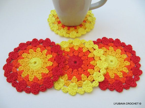 CROCHET COASTER PATTERN Colorful Coasters Easter by LyubavaCrochet