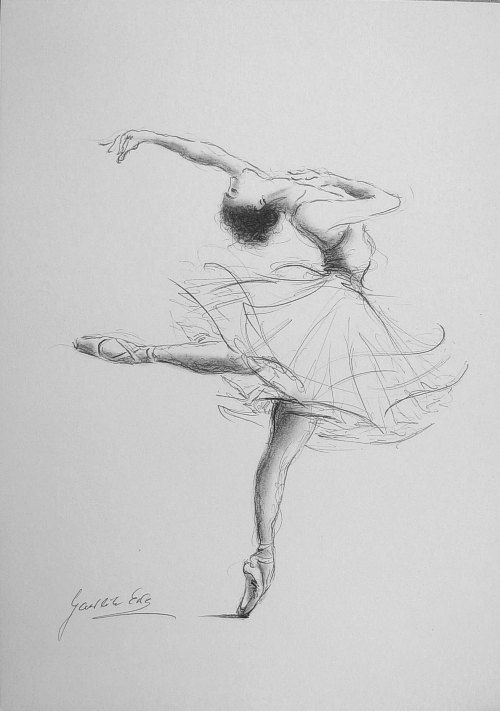 Original pencil drawing 12 x 8 on white paper of ballerina by ewa gawlik