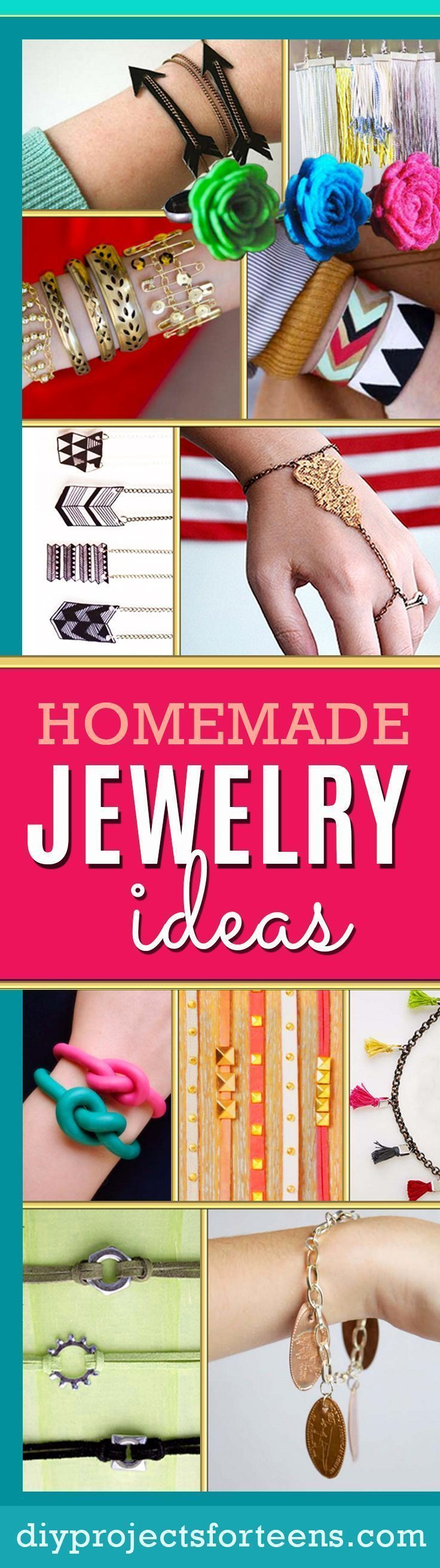 Cool DIY Jewelry Ideas | DIY Bracelets, Necklaces, Earrings and Fun Jewelry Crafts for Adults and Teens | Tutorials and Step by Step Instructions http://diyprojectsforteens.com/fun-diy-jewelry-ideas-for-teens/