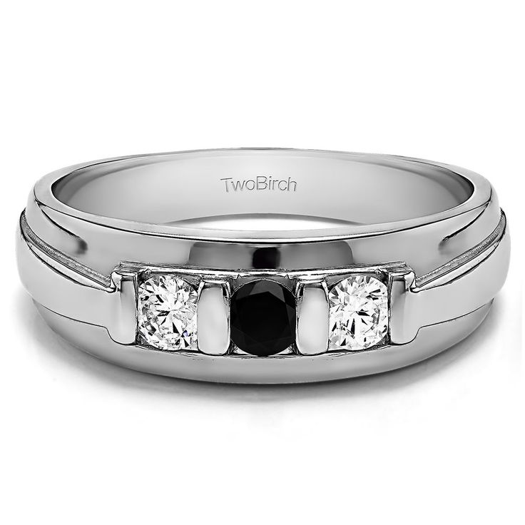 10k White Gold Unique Three Stone Men's Fashion Ring or Mens Wedding Band With Black And White Diamonds(0.49 Cts., black, I1-I2) (10k Two Tone Gold, Size 4.5), Two-Tone (solid)