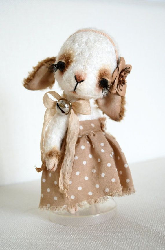 Teddy Bear stile Artist viscose OOAK vintage by SanaTeddyBears - hooves and inside ears are made of faux suede