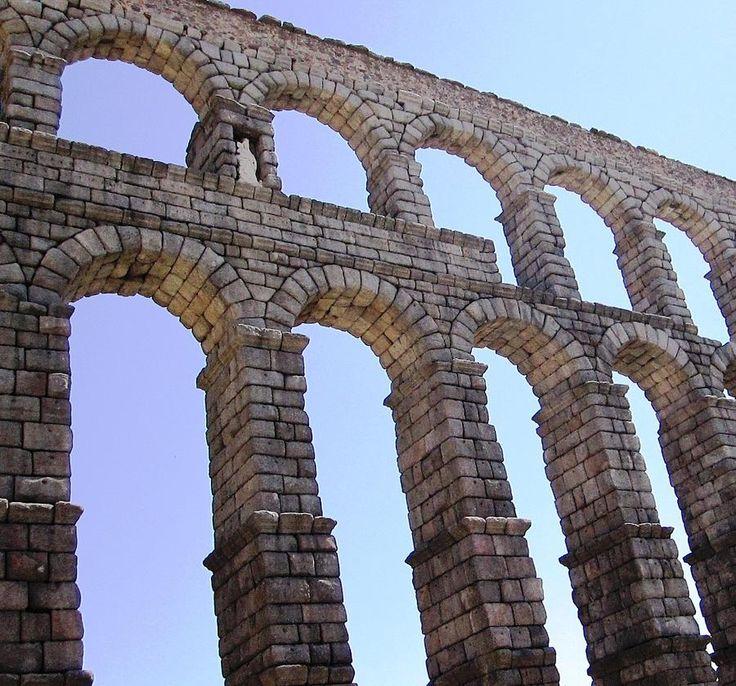 Roman Architecture: Segovia Ancient Roman Aqueduct Architectural Granite Stone