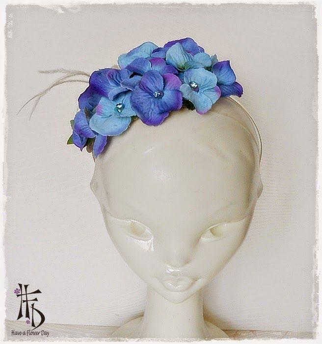 HORTENSIA. Diadema con flores de hortensia / Hedband with hydrangea flowers