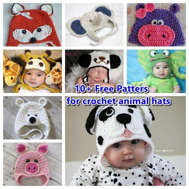 10+ Free Patterns for Crochet Animal Hats #diy #crafts
