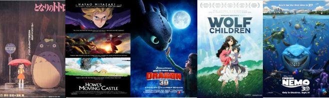 Melhores filmes de animação infantil 6-10 - Meu amigo Totoro, O Castelo Animado, Como Treinar seu Dragão, Crianças Lobo, Procurando Nemo