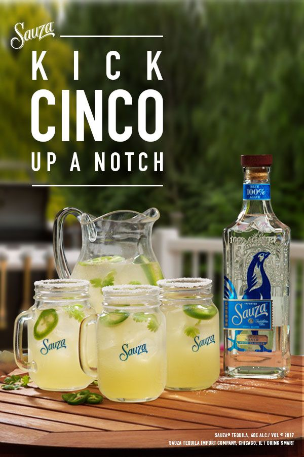 This year, kick your Cinco de Mayo party up a notch. Get your friends together and try this Cilantro Jalapeño Margarita recipe. 1 1/2 parts Sauza® Signature Blue Silver Tequila 1 1/2 DeKuyper® Triple Sec 1/2 part fresh lime juice 3 sprigs of cilantro 1 slice of jalapeño