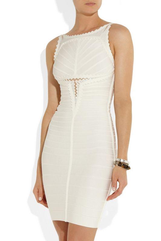 White Sleeveless Hollow Bandage Dress
