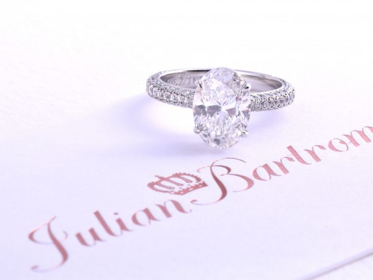 2ct Oval diamond and pave band. Custom made in platinum by Auckland engagement ring designer Julian Bartrom