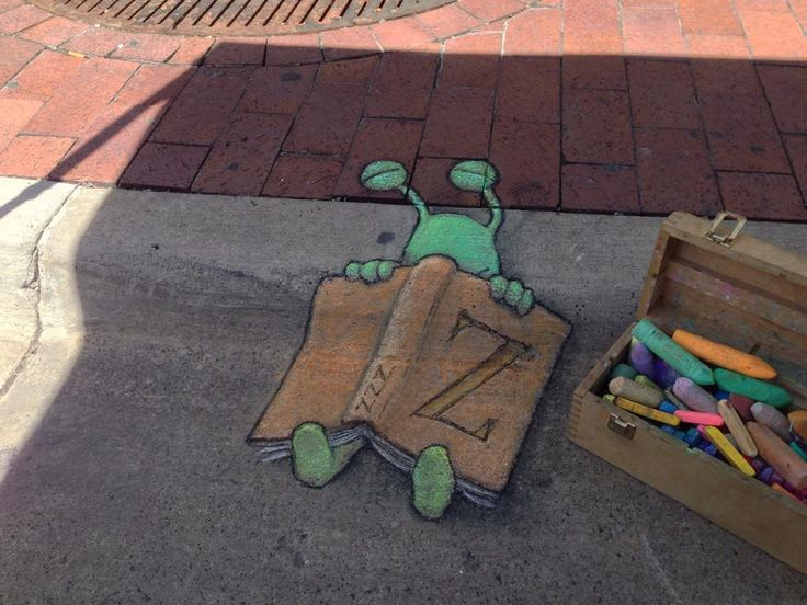 """David Zinn:  """"I'll be hanging out at the Ann Arbor Book Fair - (In retrospect, I should not have let Sluggo take a book into the shade.) — at The Arena Sportsbar."""