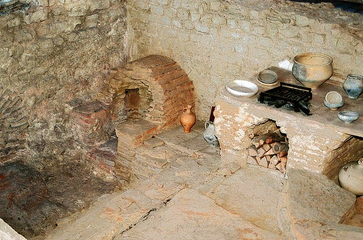 Kitchen with stove and oven in a Roman inn (Mansio) at the Roman villa of Bad Neuenahr-Ahrweiler, Germany. 350 AD